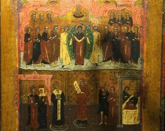 An Antique Russian XVIII century Pokrov Icon, Tempera.