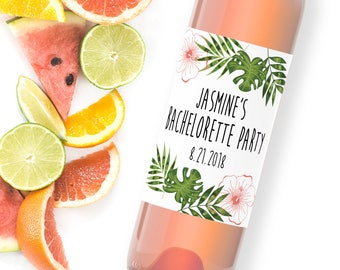 custom bachelorette wine labels / tropical wine label / bachelorette party favors / palm leaves wine label / wedding party gift WLW-21