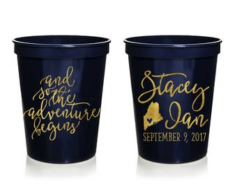 and so the adventure begins wedding stadium cups personalized wedding cups rehersal dinner