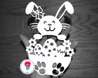 Girl Easter Bunny Rabbit Papercut Template SVG / DXF Cutting File for Cricut / Silhouette & PDF Printable For Hand Cutting, Digital Download