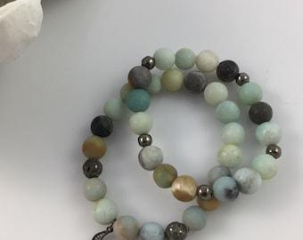 Moon Amazonite Bracelet Set of 2 #313