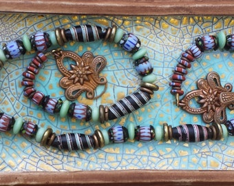 Antique Venetian Light Blue + Black Spiral Stripe Africa Trade Bead vintage Necklace Barbarian Princess