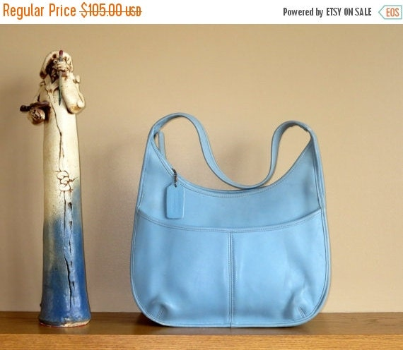 Football Days Sale Coach Ergo Baby Blue Leather Pocket Zip Bag For Spring And Summer - VGC