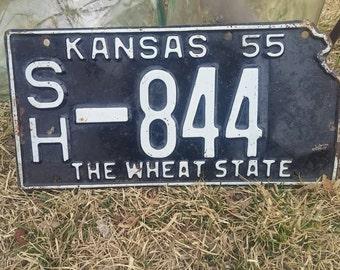 1955 Kansas License Plate~collectors license plate~Vintage