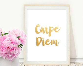 Quote Typography, Carpe Diem, Inspirational Poster, Art Digital , Giclee Print, Screenprint, Letterpress Style, Gallery Wall, Printable Art