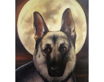 German Shepherd Oil Painting, Oil Canvas Painting, Original Painting. Artist Diliara Manadeeva.