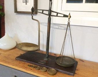 Vintage Grocers Scales, Antique Balance Scales with Brass Weights,