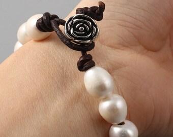 Rose Pearl Bracelet Silver Rose Bracelet Pearl Leather Bracelet Freshwater Pearl Bracelet Floral Bridal Accessories Bridesmaids Jewellery