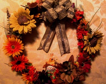 Autumn Splendor Wreath Fall Thanksgiving Bounty  Earthtones Orange Yellow Red Brown Pumpkins Scarecrow HarvestTime
