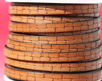 MADE in EUROPE 24'' flat 10mm engraved leather cord, 10mm flat leather cord, 10mm embossed leather cord (505/10/33)