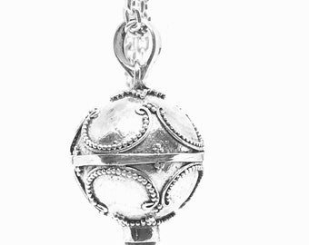 14 mm 925 Bali Design Harmony Ball Pendant  with 4mm stone