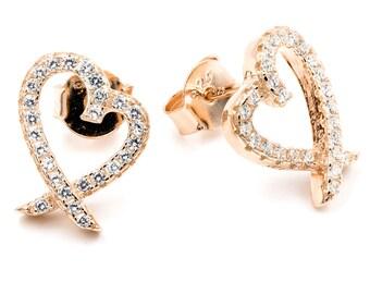 Sterling silver heart earrings. Heart stud earrings. Rose gold heart stud earrings. Cz heart gold earrings. Unique design heart earrings.