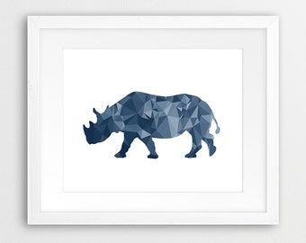 Rhinoceros Print, Geometric Animal Wall Art, Navy Blue Rhinoceros, Safari Animal, Triangles Art, Modern, Nursery Decor, Kids Room Printable