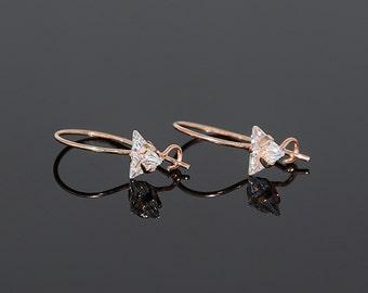 Tiny earrings, Petite earrings, Dainty earrings, Delicate earrings, White stone earrings, Triangle earrings, Leverback earrings