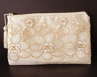 Ivory Silk Clutch, Lace Clutch, Gold Clutch, Bridal Clutch, Brides Purse, Bridesmaid Gift, Wedding Purse, Evening Bag,