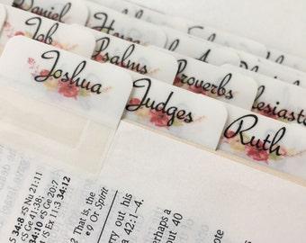 Bible Tabs Watercolor Bouquet Floral Tabs ~ Preprinted with adhesive ~ 56 tabs