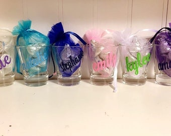 Custom name shot glasses with organza bags and candy filled