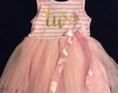 2nd Birthday Dress-Two Party Dress-party dress-2T Birthday-Pink Tutu Dress-Sleeveless Baby Dress-Free Headband-Fast Shipping-Baby Girl Dress