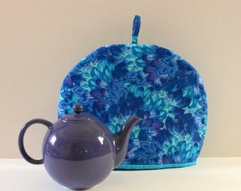 Blue Tea Cozy, Large cotton Tea warmer, Blue Feathers tea cozy with insulation. Handmade Teapot cozy is an excellent gift for tea lovers.