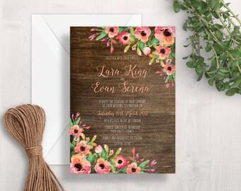 Floral & Wood Wedding Invitation | Printable Wedding Invitation | Rustic Wedding Invitation | Floral Wedding Invitation | Garden Wedding
