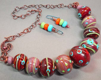 Brown dotted &  striped blown hollow bead moretti glass bead necklace set with oxidized copper wire
