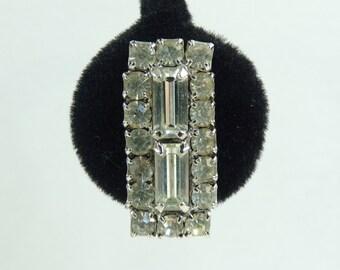 60s crystal rhinestone earrings, 1960s mad men fancy evening earrings, square minimalist clip on vintage earrings, costume jewelry