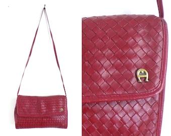 80s red leather bag, woven soft leather cross body bag, 1980s etienne aigner deisgner handbag, minimalist leather purse, envelope bag