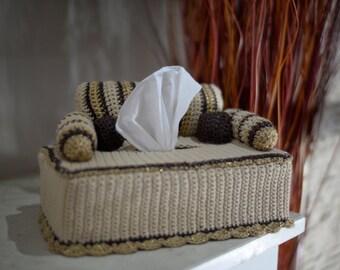 Tissue Box Cover, Decor crochet couch
