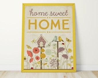 Home Sweet Home Print - Home Sweet Home Wall Art - House Warming Gift - Printable Wall Art - Digital Print