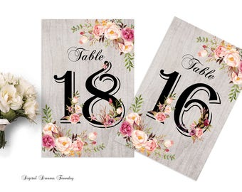 Wedding Table Numbers Printable Boho Wedding Table Numbers 13-24 Floral Wedding Table Numbers Rustic Wedding Table Number Boho Wedding Decor