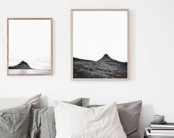 Kirkjufell, Iceland travel, wanderlust, black & white, nature photography 2 print photo set. Minimalist and Scandinavian instant download.