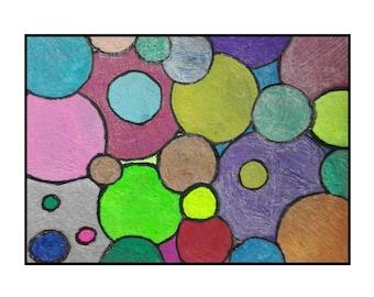 ATC Original abstract ACEO ink drawing art metallic artwork Bubbles by Robert McConvey