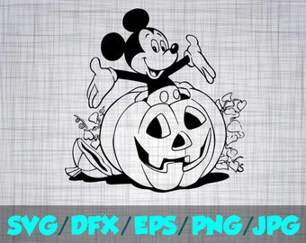 Disney Halloween SVG Decal Cutting File / Clipart iron on, Eps, Dxf, Png, and Jpeg Cricut Silhouette Mickey Mouse Disneyland World Pumpkin