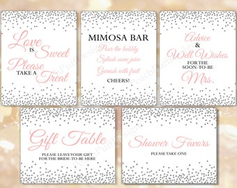 Bridal Shower signage Set of 5 (INSTANT DOWNLOAD) - Bridal shower sign - Bridal shower printable - Printable signs BR003