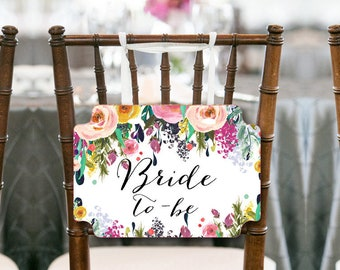 Garden Bride to be Chair Banner, Bridal Shower Decorations, Bridal Shower Chair Banner, Bride To Be Sign. Printable Chair Sign BS138