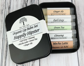 Happily Hipster Organic Lip Balm Lovers Tin Gift Set, 5 Lip Balms, One Tin