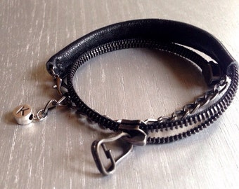Urban leather and zip ROCK bracelet