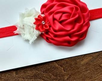 Red satin flower headband