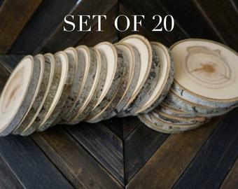 "Set of 20 4""-4.5"" Wood Slices - Rustic Wedding Decor - Tree Slices - Wood Discs - Tree Log Coasters -  DIY Wedding - Wedding Favors"