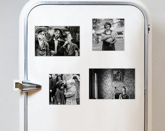 Set of 4 fridge magnets! Four vintage black and white photography retro style refrigerator magnet gift pack 15x10cm and 10x10 cm