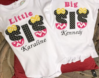 Embroidered Shirt | Minnie Shirt | Personalized Shirt | Sister Shirt | Monogrammed Shirt  | Big Sister Shirt | Big Little Sister Shirts