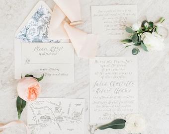 Printable Wedding Invitation - Navy Organic Calligraphy