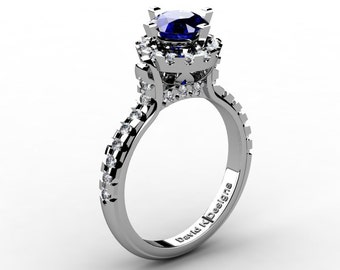 French 14K White Gold 1.0 Ct Blue Sapphire Diamond Solitaire Engagement Ring R1096-14KWGDBS
