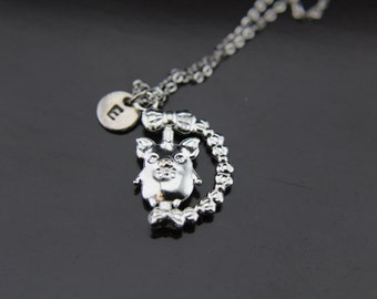 Silver Pig Charm Necklace Pig Pendant Pig Charm Personalized Necklace Initial Charm Initial Necklace Customized Monogram Jewelry
