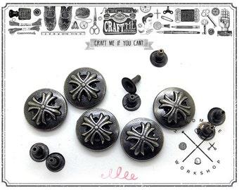 10 Sets 14MM Antique Silver CROSS Rapid Rivet Leathercraft Studs Decorative Accessories for Bag Shoes Clothes