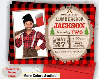 Lumberjack Birthday Party Invite First Wilderness Plaid Lumber Jack Invitation Rustic TIMBER Buffalo plaid Camping photo photograph BDLJ12