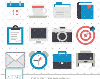 Work clip art, Office clipart, vector graphics, envelope clip art, digital clip art, digital images