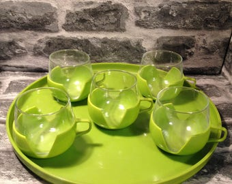 Vintage glass / plastic cups and tray - green 1970's