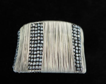 Couture Silver Tone Wire Wrap  Cuff Bracelet W/ Gray Beads