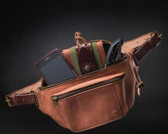 Leather fanny pack by Kruk Garage Hip bag Cognac brown leather Belt bag Festival pack Travel pouch FREE PERSONALIZATION FREE shipping